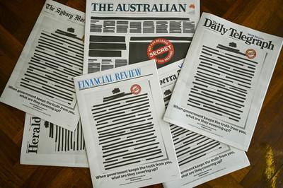 澳洲報紙頭版染黑 籲新聞自由
