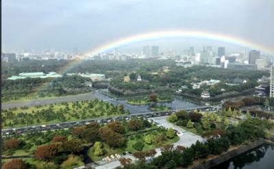 天皇即位儀式前「正巧」雨停彩虹出