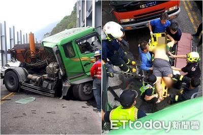 瀝青車90°自撞 男被壓斷肢亡!