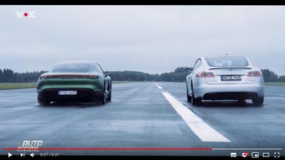 特斯拉Model S與Taycan比直線