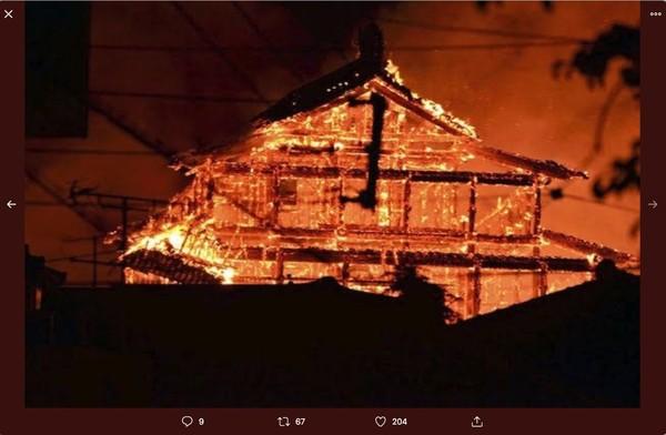 ▲▼沖繩首里城大火。(圖/翻攝推特)