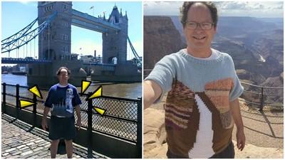 超獨特紀念!他織「世界名勝」毛衣20年 再穿毛衣飛去現場拍合照