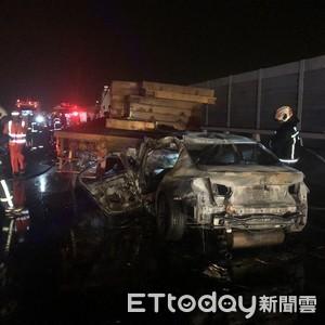 自小客車追撞拖板車 駕駛被燒死