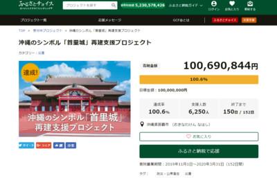 首里城重建募款1億日圓3天達標!