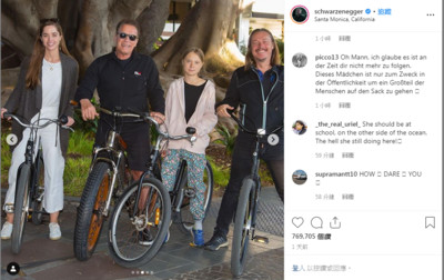 阿諾和瑞典少女騎車遊加州 大讚「我的朋友兼英雄」