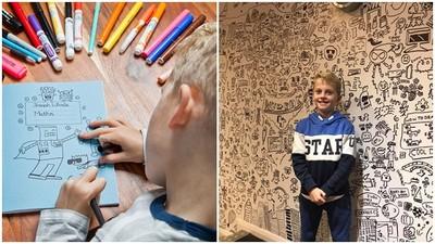 天賦外露!9歲男孩不愛上課只愛塗鴉 餐廳給他「整面白牆」當畫布