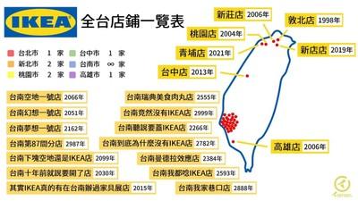 台南沒有IKEA 一張「店點分布圖」秒懂台南人的幽默