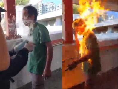 疑不滿黑衣人破壞!香港男子被火燒命危