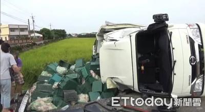 貨櫃車解體雞肉掉 卡車司機骨折