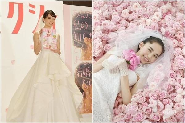 長相甜美的井桁弘惠曾擔任婚紗雜誌模特兒及代言人。(翻攝自日本雅虎)