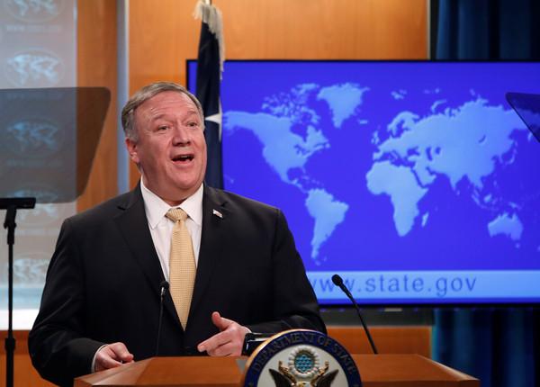 ▲美國國務卿蓬佩奧(Mike Pompeo)在國務院記者會上聲明美國對於以色列屯墾區的政策轉變。(圖/路透)