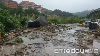 基隆豪雨不停 月眉土資場驚傳施工道路崩塌