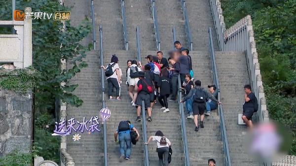 ▲謝娜拍《妻子的浪漫旅行》摔下樓梯受傷。(圖/翻攝自芒果tv)