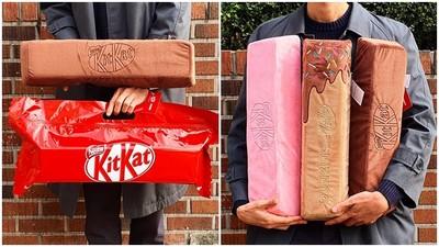 巧克力控要融化啦!KitKat推出「巨型巧克力抱枕」 睡覺也要來一根