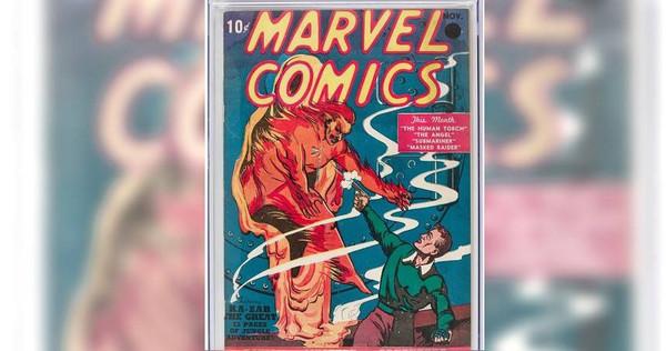 「漫威」首本於1939年出版的漫畫《Marvel Comics #1》,以126萬美元拍賣售出。(圖/翻攝自法新社)