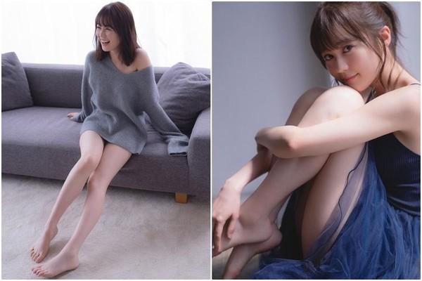 除了D罩杯美胸,生田繪梨花的寫真集也有許多美腿照。(翻攝自推特)