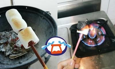 網上流傳神吃法!妹子實錄棉花糖著火崩潰