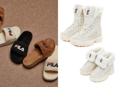 FILA雪靴、拖鞋,毛絨絨超保暖