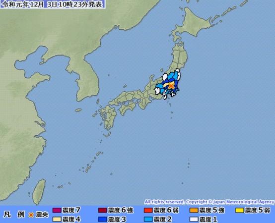 ▲▼1203日本茨城縣地震。(圖/翻攝自日本氣象廳)
