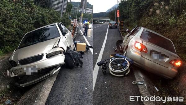 快訊/瑞芳台62線轎車衝向路邊坡 3人受困警消救出