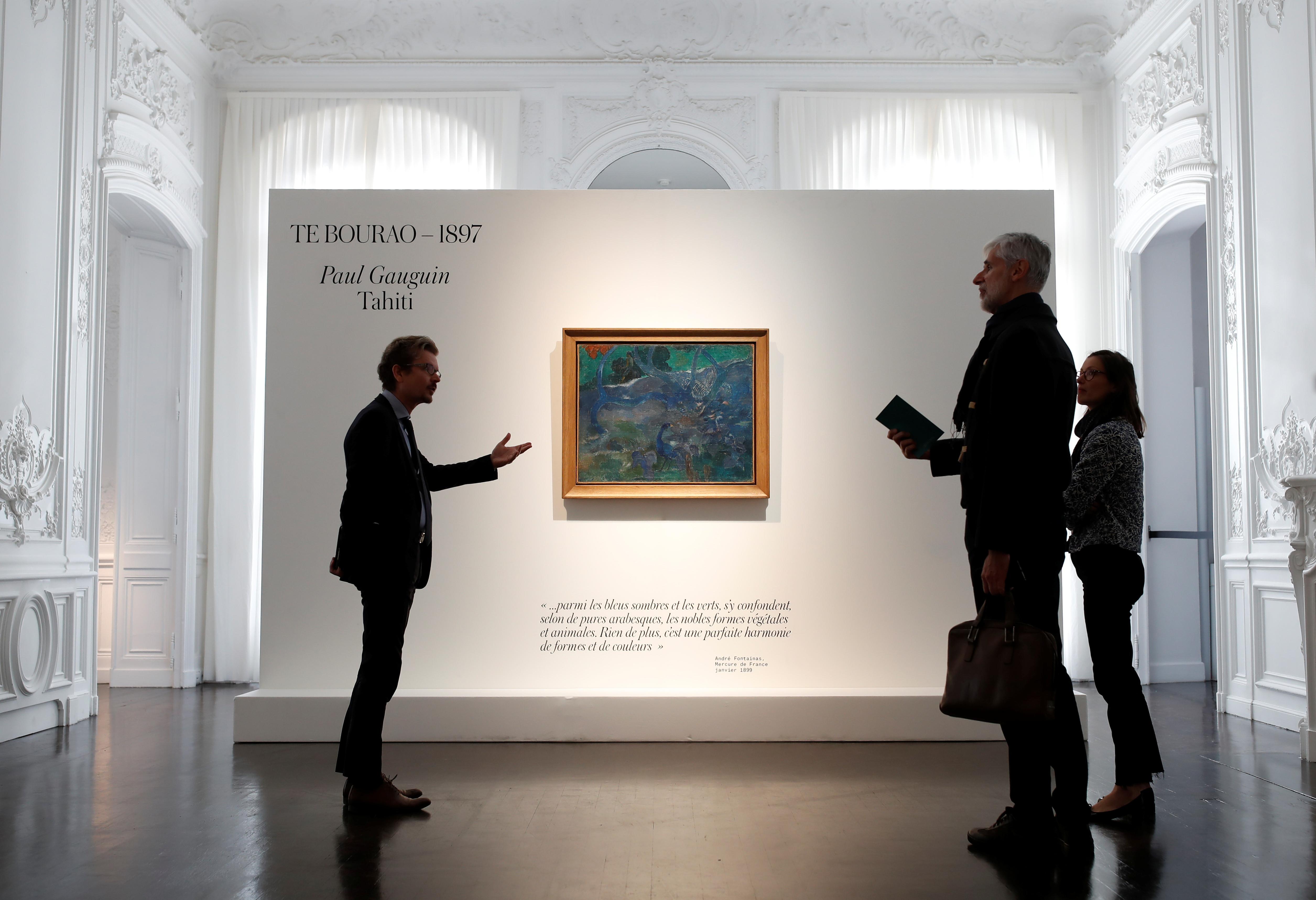 ▲▼高更畫作《樹》拍賣「天價3.2億元售出」。(圖/路透)