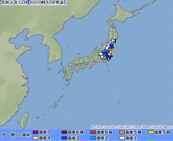 ▲▼1204日本茨城縣地震。(圖/翻攝自日本氣象廳)