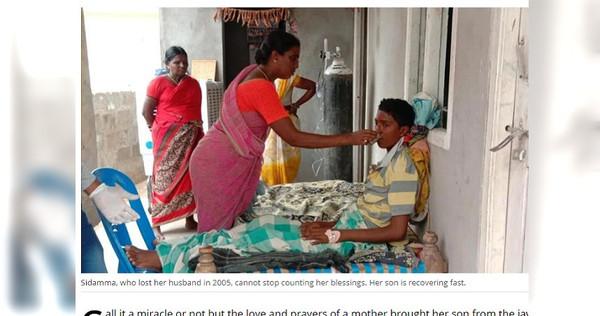 媽媽崩潰喊「別離開我」,兒子下秒復活。 (圖/翻攝自今日印度)