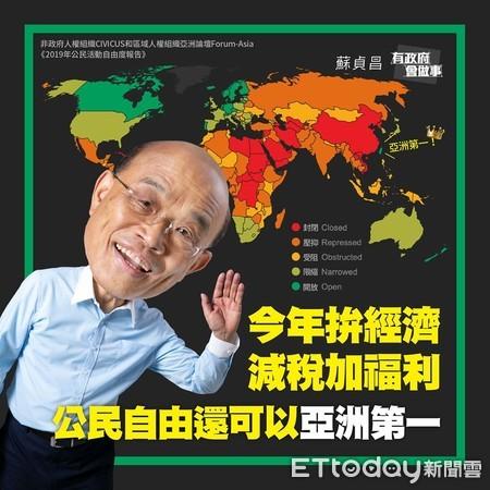 ▲台灣是亞洲唯一被列為開放的國家。(圖/翻攝自蘇貞昌臉書)