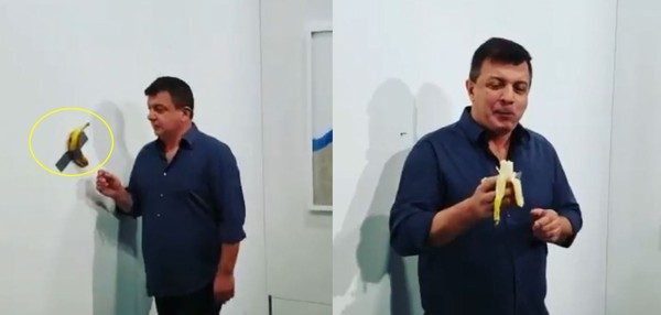 ▲▼名為「喜劇演員」(Comedian)的香蕉藝術品開價12萬美元,被另一名藝術家達圖納(David Datuna)吃掉。(圖/翻攝自IG/david_datuna)