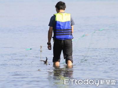 鹽水溪口驚見鳥卡魚網民眾救援