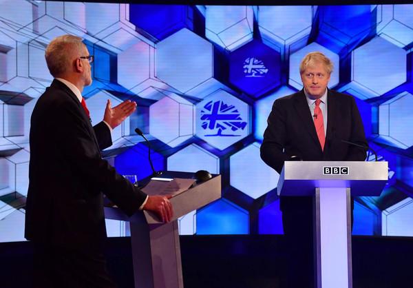 ▲▼英國首相強生(Boris Johnson)與工黨領袖柯賓(Jeremy Corbyn)辯論。(圖/路透)