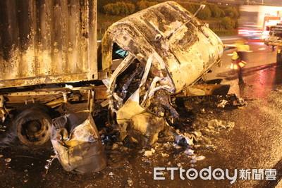 國道火燒車2死 貨櫃車運將是靠行司機