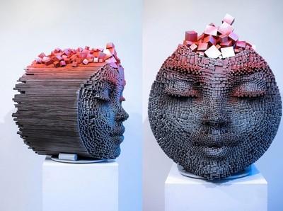 色彩繽紛像素化木雕