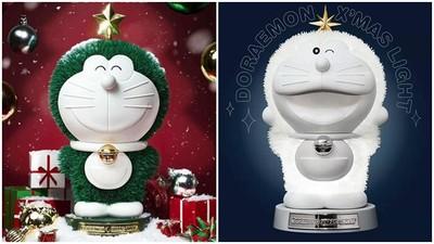哆啦A夢怎麼長毛了?香港推出雪白「哆啦A夢聖誕樹」 閃閃發光超療癒