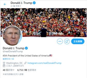 川普一天發123條推特 美媒:川普海嘯