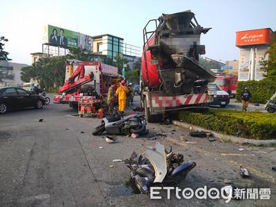 台南水泥車猛衝600m!男騎士「卡輪胎」慘死
