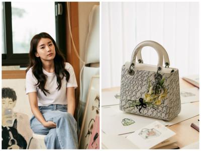 韓國美女藝術家在黛妃包上種花