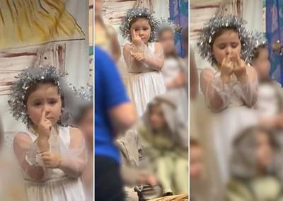 5歲天使妹表演中不斷「比中指」!