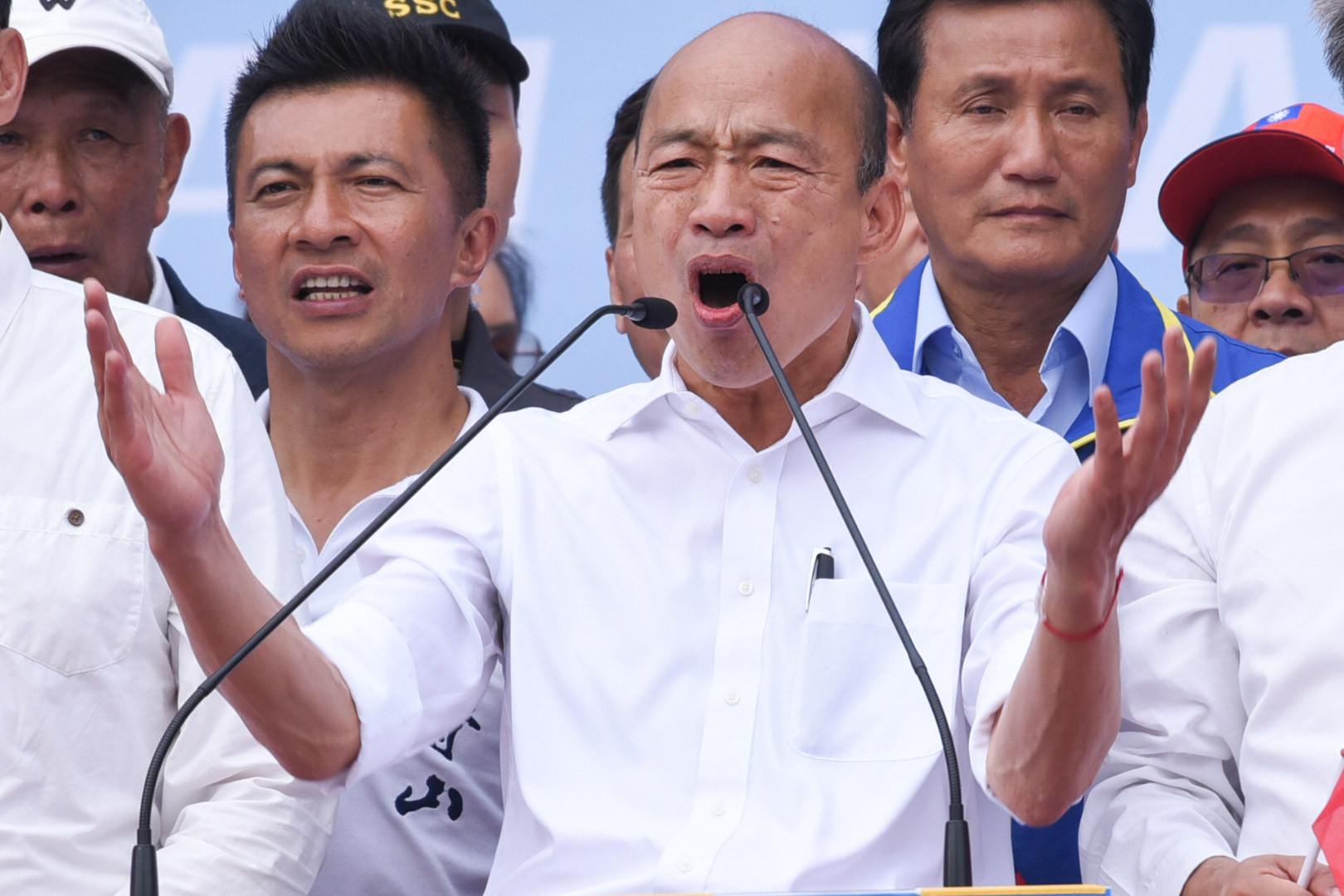 ▲挺韓大遊行,國民黨總統候選人韓國瑜致詞。(圖/記者林敬旻攝)