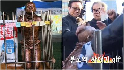 難忍39年仇恨!人民造「韓總統跪地雕像」 巴頭技連發、甩耳光洩憤