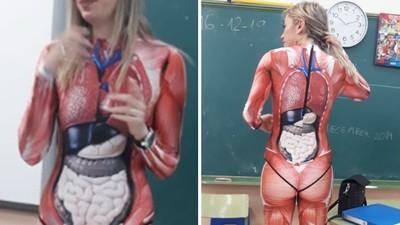 學生嗨翻!火辣女老師穿「3D器官衣」教課 連老公都讚:聰明又性感