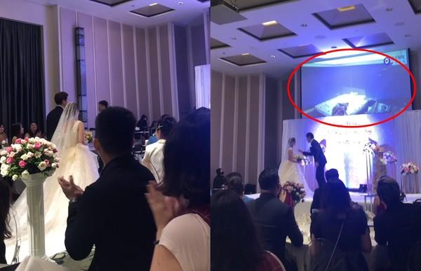 ▲新郎在婚宴上播放新娘壞壞片。(圖/翻攝自茄子視頻,下同)