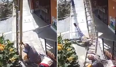 輪椅被擋 伯猛搖梯子害他3樓摔下