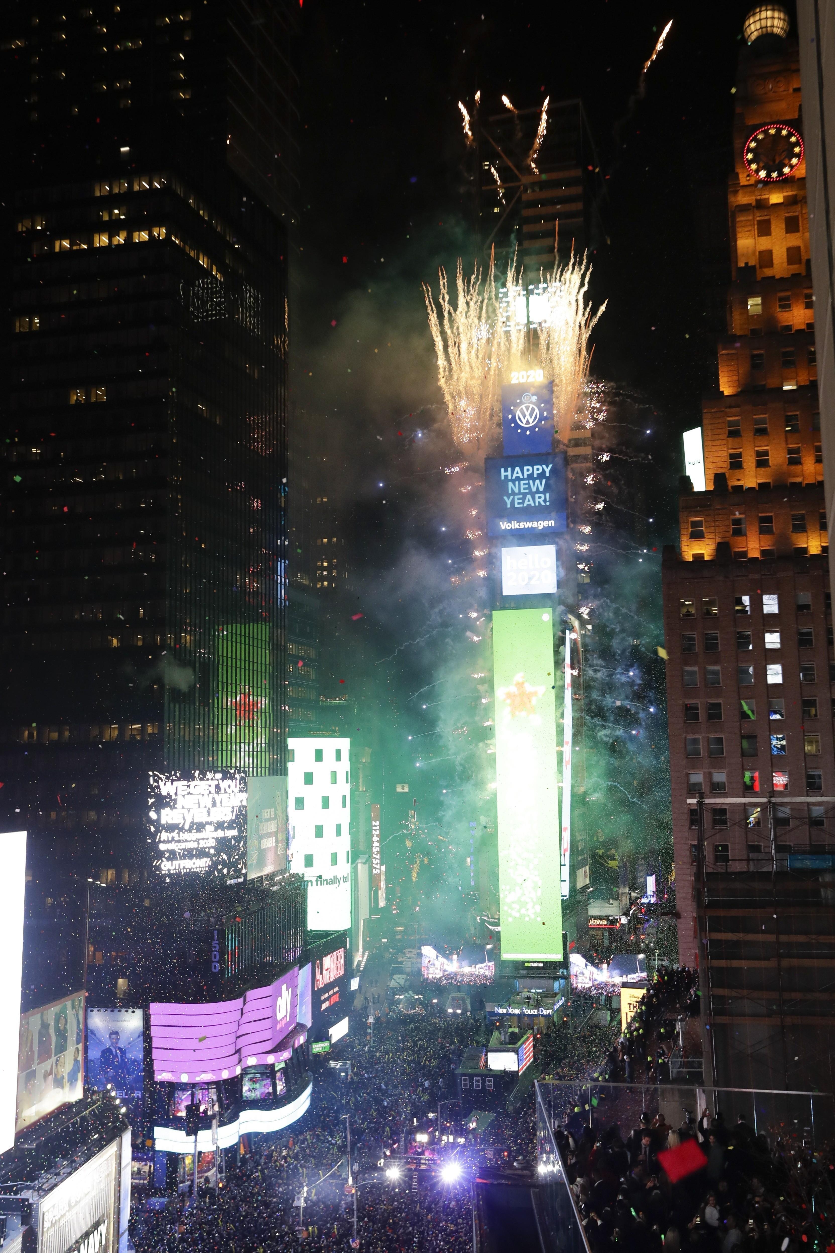 ▲▼ 美國紐約時報廣場2019-2020跨年 。(圖/達志影像/美聯社)