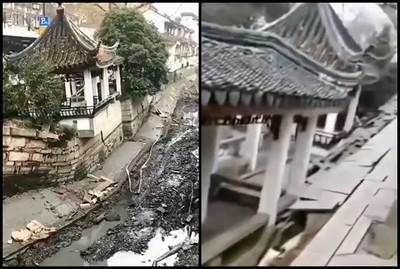蘇州仿古長廊「連聲巨響」崩塌 驚悚景象曝光