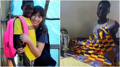 人美心善!女星認養非洲愛滋病童 十年後收到「女兒」手編連身裙