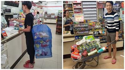 最幽默環保袋!泰國超商禁用塑膠袋 民眾推「土水車」載商品去結帳