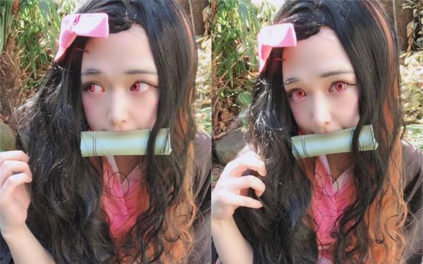 22歲大眼萌妹Cosplay「禰豆子」神還原!卸妝照曝光...11萬網看傻