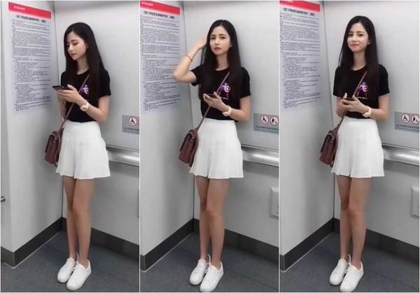 有人在通勤時見到神級長腿正妹,她最後發現被拍時,還嬌羞露出微笑。(圖/翻攝臉書)