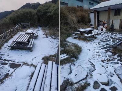 雪山369山莊降下今年第一場雪
